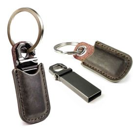 Tuff-Luv 16GB USB Drive and Vintage Leather Key Ring Case (Western Leather)