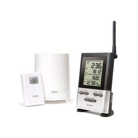 Oregon - RGR126N Wireless Rain Gauge with Outdoor Temperature & 9 Day Memory - Silver & Black