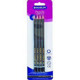 Marlin Scribbler Black & Silver Striped HB Pencils - Blister of 4
