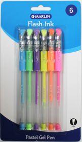 Marlin Flash-Ink Pastel Gel Pens - Blister of 6