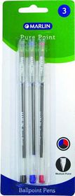 Marlin Pure Point Medium Transparent Ballpoint Pens - Assorted Ink (Blister of 3)