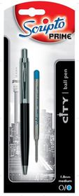 "Scripto Prime ""City"" Black Barrel Ballpoint Pen"