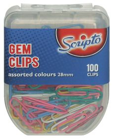 Scripto Gem Clips 28mm 100s - Assorted Colours