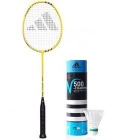 Adidas Fast F300 Badminton Racket Yellow and N500 Championship Shuttlecocks