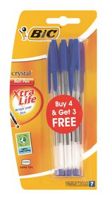 BIC Crystal Medium Xtra Life Ballpoint Pens - Blue (Blister of 4+3)