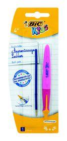 BIC Kids Beginners Ballpoint Pen Twist Pink - Blue Ink