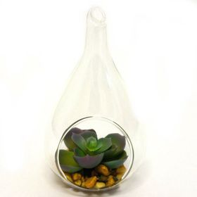 Pamper Hamper - Artificial Succulent In Teardrop Hanging Vase - Green
