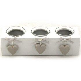 Pamper Hamper - White Wooden Triple Candle Holder - White