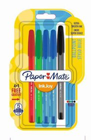 Paper Mate Inkjoy 100 Capped Ballpoint Pens - Assorted Std (Carded 4+1)