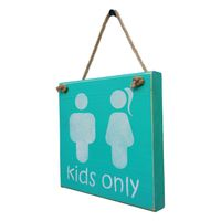 Prettish Restroom Sign Kids Only Wave - Blue and White