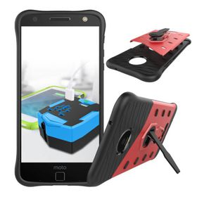 Tuff-Luv Rugged Twin Protection Case with Stand for Moto Z - Red