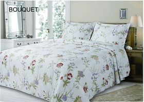 Simon Baker - Bouquet Quilted and Printed Comforter Set - Three Quarter