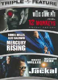 12 Monkeys/Mercury Rising/Jackal - (Region 1 Import DVD)
