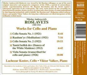 Roslavets / Kostov / Valkov - Works For Cello & Piano (CD)