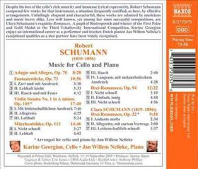 Schumann, R & C / Georgian / Nelleke - Music For Cello & Piano (CD)