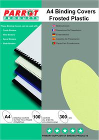 Parrot A4 Frosted 300Micron Binding Covers - Green (Pack of 100)
